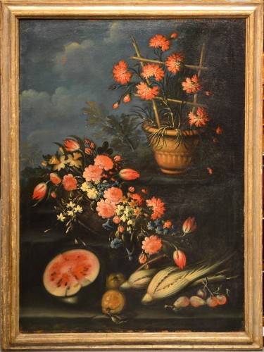 Paintings & Drawings  - Pair of still lifes of flowers in a garden - Francesco Lavagna (1685 -1724)