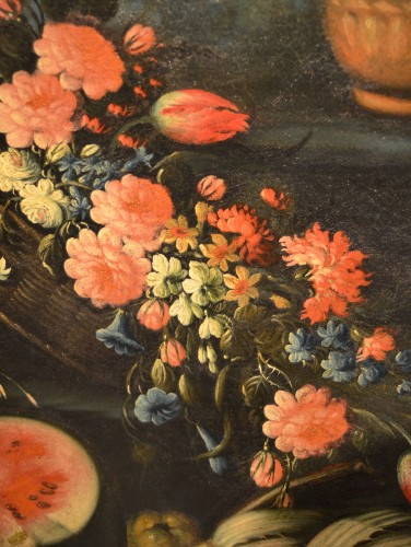 Pair of still lifes of flowers in a garden - Francesco Lavagna (1685 -1724) -