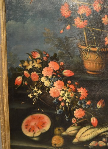 18th century - Pair of still lifes of flowers in a garden - Francesco Lavagna (1685 -1724)