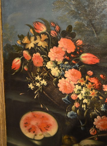 Pair of still lifes of flowers in a garden - Francesco Lavagna (1685 -1724) - Louis XVI