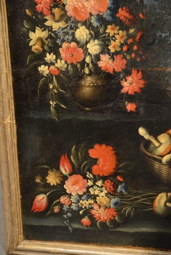 Antiquités - Pair of still lifes of flowers in a garden - Francesco Lavagna (1685 -1724)