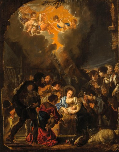 Abraham Danielsz Hondius - Nativity with adoration of the shepherds - Paintings & Drawings Style