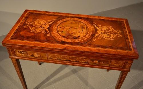 18th century - Louis XVI game table - Workshop of Giuseppe Maggiolini