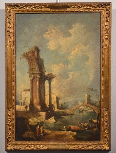 Pair  of Capricci with ruins and figures - Francesco Guardi atelier  - Paintings & Drawings Style Louis XV