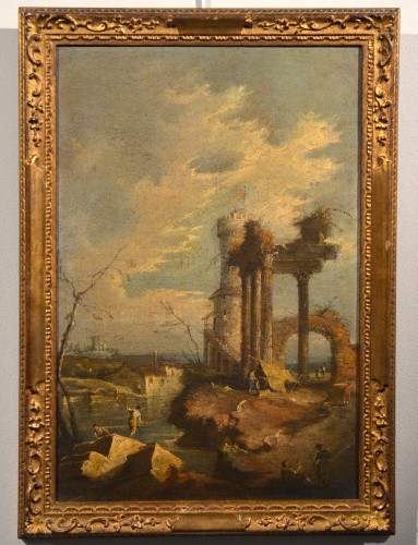 Paintings & Drawings  - Pair  of Capricci with ruins and figures - Francesco Guardi atelier