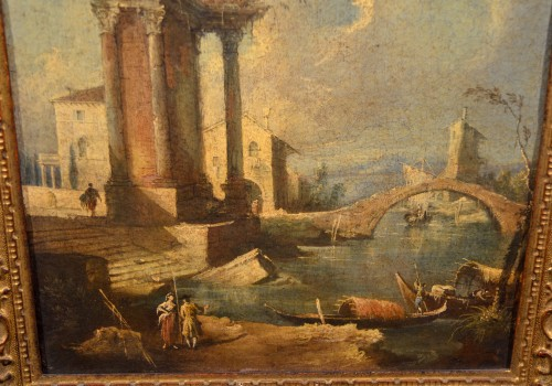 18th century - Pair  of Capricci with ruins and figures - Francesco Guardi atelier
