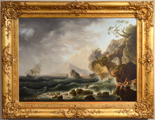 Coast In The Storm And Shipwreck - Claude Joseph Vernet's Workshop