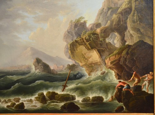 Coast In The Storm And Shipwreck - Claude Joseph Vernet's Workshop - Paintings & Drawings Style Louis XVI
