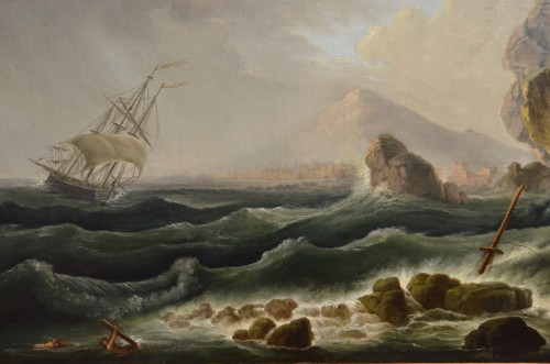 Coast In The Storm And Shipwreck - Claude Joseph Vernet's Workshop -