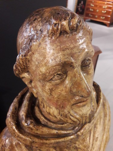 Antiquités - Carved Wood Sculpture, Seventeenth Century - San Francesco