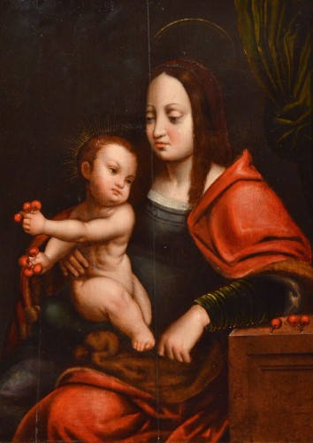 Madonna of Cherries - Circle of Joos van Cleve (1485 - 1540) - Paintings & Drawings Style Renaissance