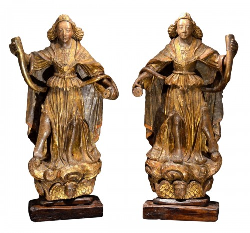 Pair of carved wooden angels early 16th century