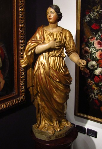 Santa Barbara - lacquered and gilded wooden sculpture - Sculpture Style