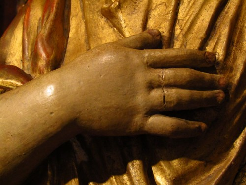 Santa Barbara - lacquered and gilded wooden sculpture -