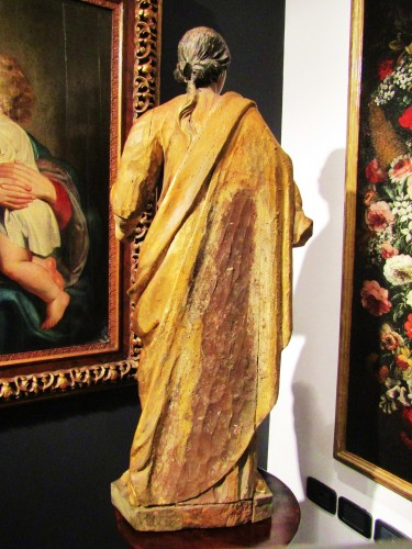 Antiquités - Santa Barbara - lacquered and gilded wooden sculpture