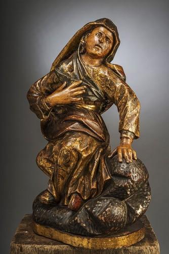Madone au pied de la croix - Sculpture Style Louis XIII