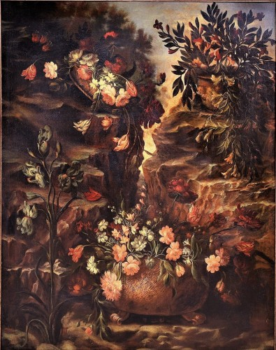 Grande Nature Morte de Fleurs - Paintings & Drawings Style Louis XIII