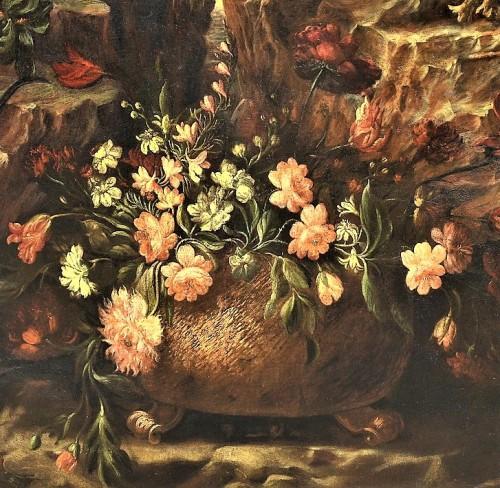 Antiquités - Grande Nature Morte de Fleurs