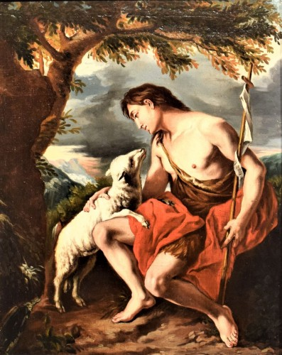 "Saint John the Baptist in the Deer"" - Paintings & Drawings Style Louis XIV"