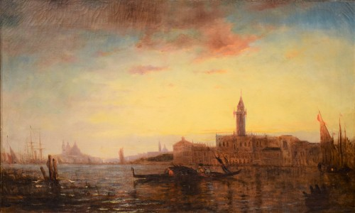 """""""Sunset in Venice on the Lagoon"""" P.G. Lepinay (1842-1885) - Paintings & Drawings Style"""