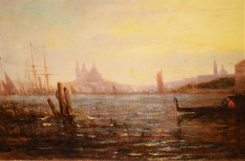 """Paintings & Drawings  - """"Sunset in Venice on the Lagoon"""" P.G. Lepinay (1842-1885)"""