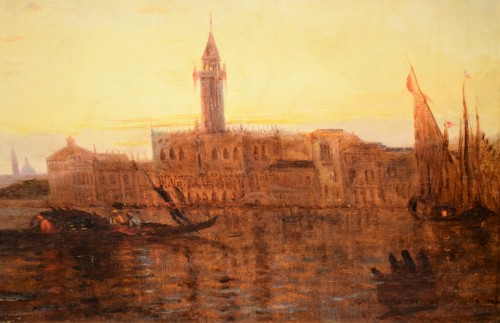"""19th century - """"Sunset in Venice on the Lagoon"""" P.G. Lepinay (1842-1885)"""