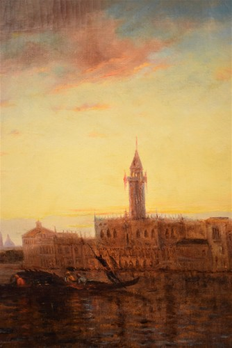 """Antiquités - """"Sunset in Venice on the Lagoon"""" P.G. Lepinay (1842-1885)"""