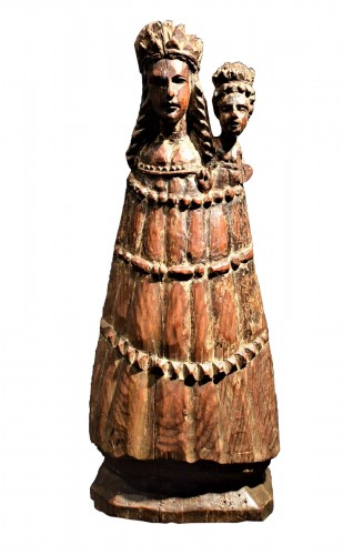 """Vierge and Child""  Medieval wood sculpture."