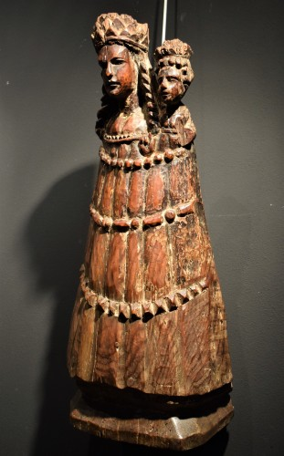 """Vierge and Child""  Medieval wood sculpture. - Sculpture Style Middle age"