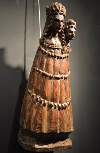 "Sculpture  - ""Vierge and Child""  Medieval wood sculpture."