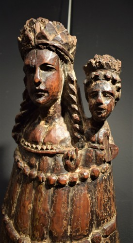 """Vierge and Child""  Medieval wood sculpture. -"