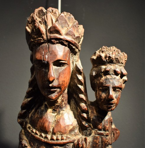 "Middle age - ""Vierge and Child""  Medieval wood sculpture."