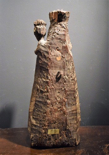 "Antiquités - ""Vierge and Child""  Medieval wood sculpture."