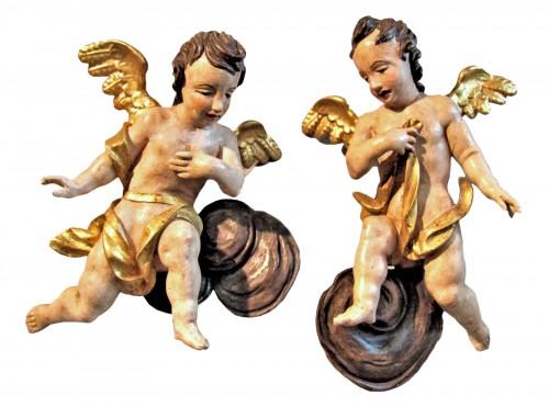 Couple d'Anges Baroques, sud de l'Allemagne XVIIème siècle