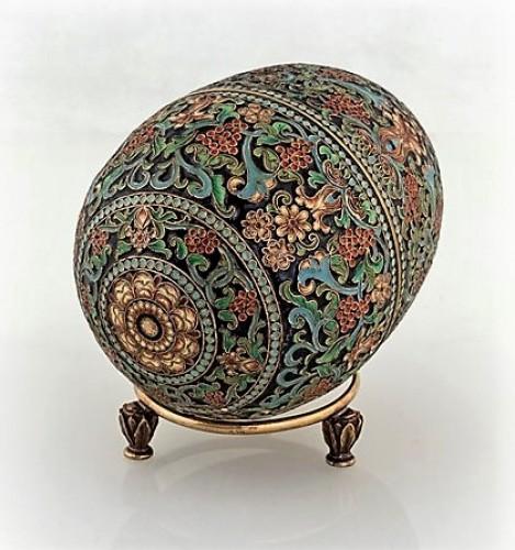 Oeuf Russe d'Argent doré et émail polychromes - Antique Silver Style Art nouveau