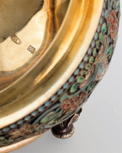Antique Silver  - Oeuf Russe d'Argent doré et émail polychromes