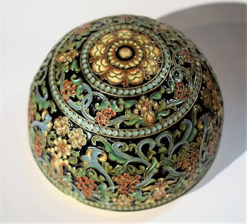 Oeuf Russe d'Argent doré et émail polychromes - Art nouveau