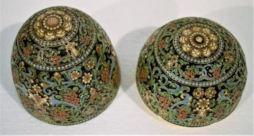 Antiquités - Oeuf Russe d'Argent doré et émail polychromes