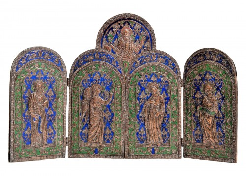 Triptych in copper and  polychrome enamels.