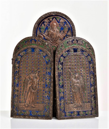 Triptych in copper and  polychrome enamels. - Religious Antiques Style Louis XVI