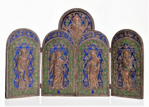 Triptych in copper and  polychrome enamels. -