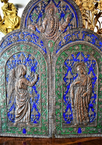 18th century - Triptych in copper and  polychrome enamels.