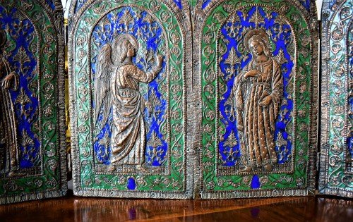 Triptych in copper and  polychrome enamels. - Louis XVI