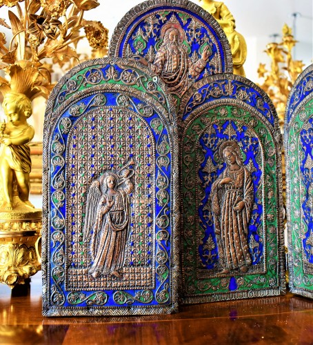 Louis XVI - Triptych in copper and  polychrome enamels.