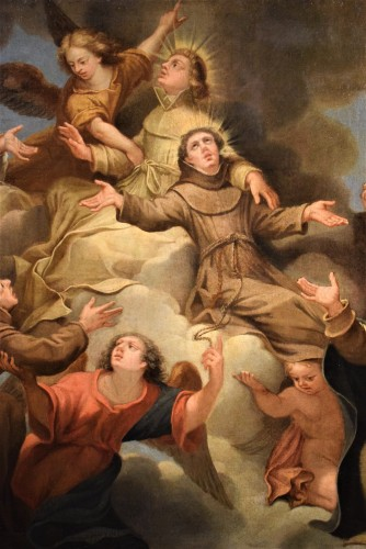 17th century - Saints in Glory - Roman school of 17th century