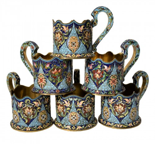 6 tea cups, Golden Silver and enamels,  Moskow 1908