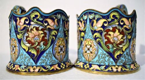 6 tea cups, Golden Silver and enamels,  Moskow 1908 - Antique Silver Style Art nouveau