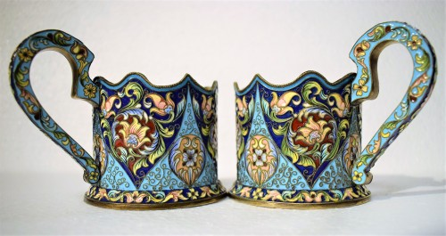 6 tea cups, Golden Silver and enamels,  Moskow 1908 -