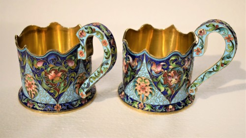 20th century - 6 tea cups, Golden Silver and enamels,  Moskow 1908
