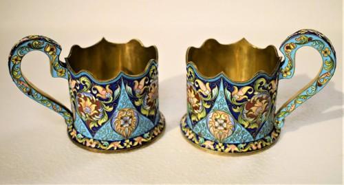 6 tea cups, Golden Silver and enamels,  Moskow 1908 - Art nouveau